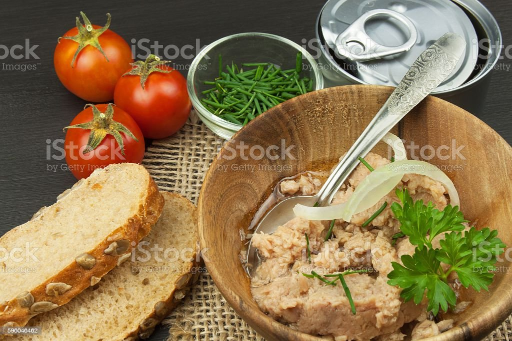 Crushed tuna canned. The fishing industry, canned fish royalty-free stock photo