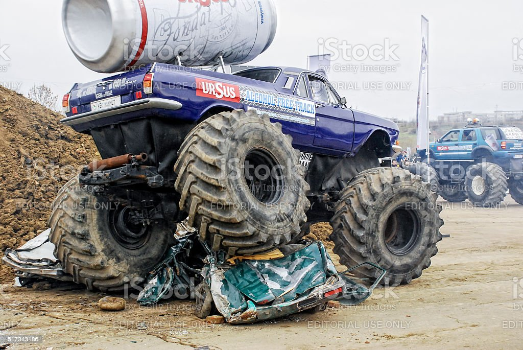 Crushing cars stock photo