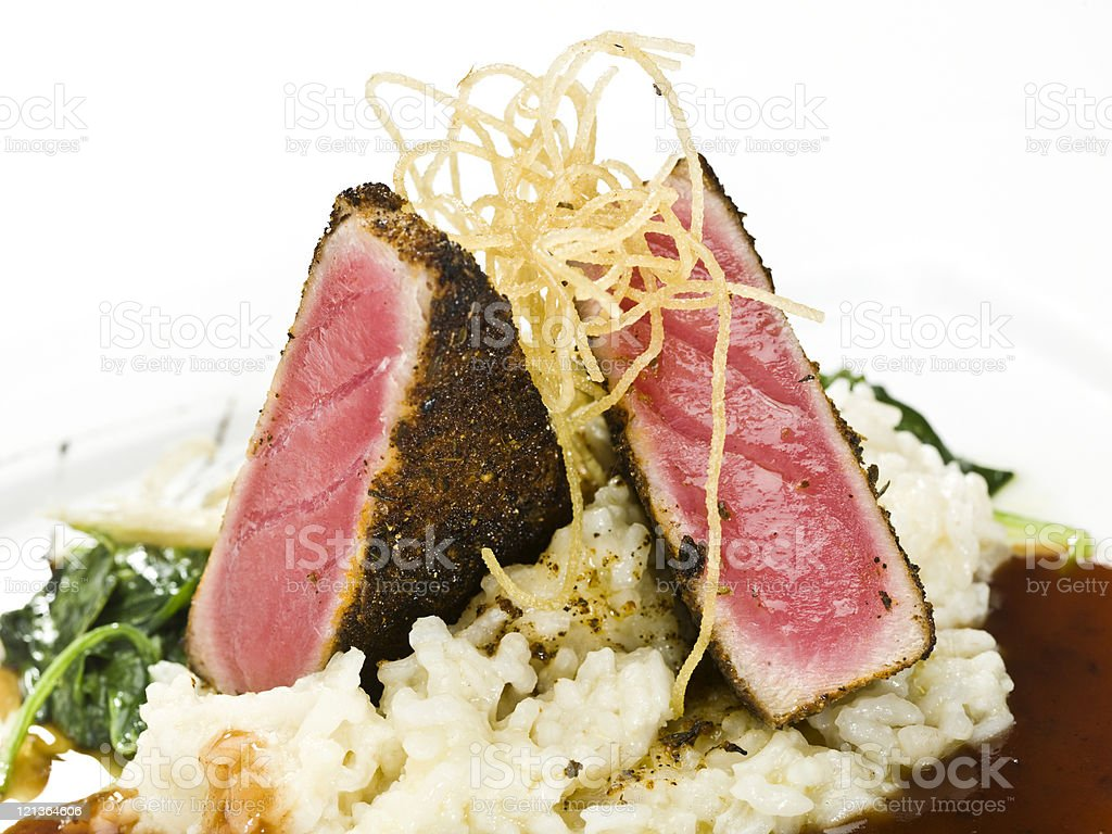 Crusted Ahi tuna fillet with risotto royalty-free stock photo