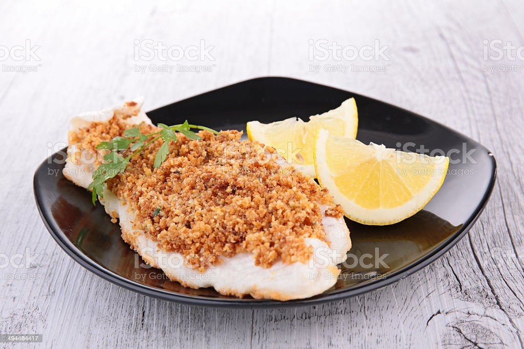 crusted fish stock photo