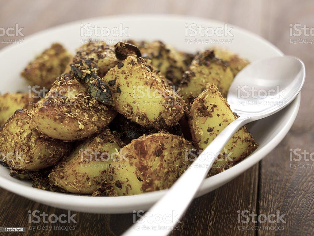 crusty baked potatoes royalty-free stock photo