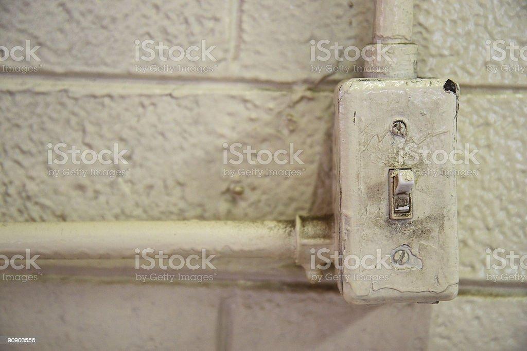 Crusty Old Light Switch stock photo