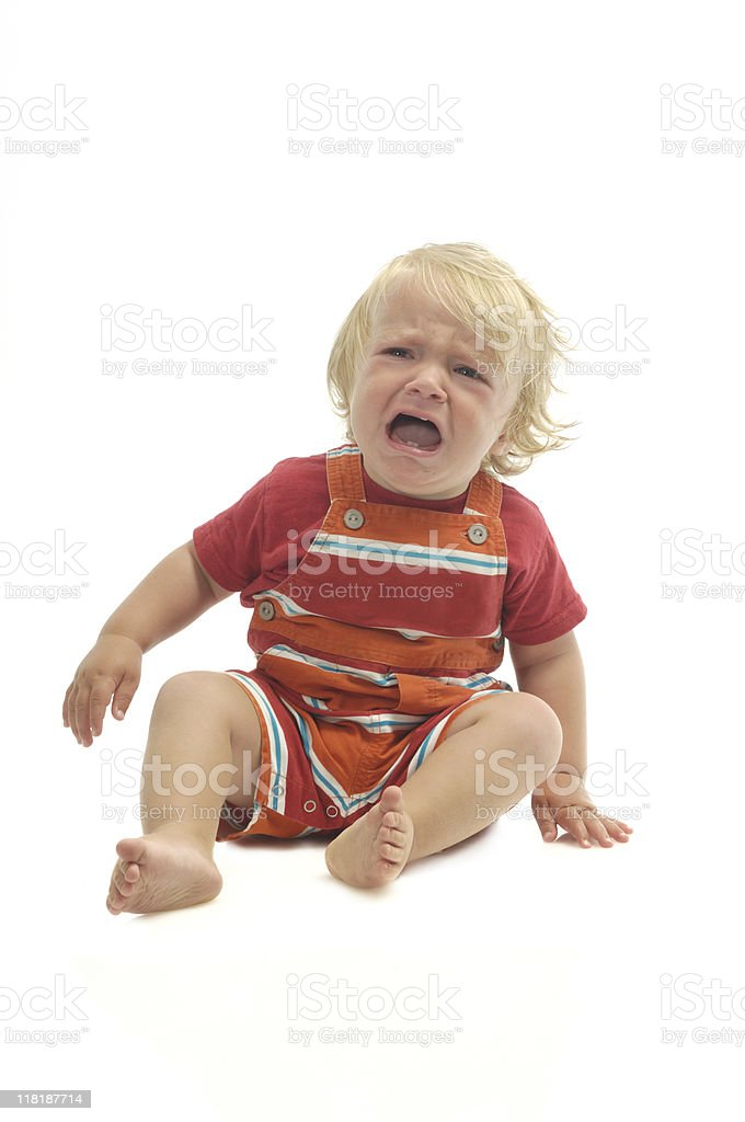 Crying baby on white royalty-free stock photo