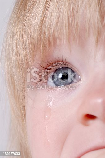 Little toddler crying real tears