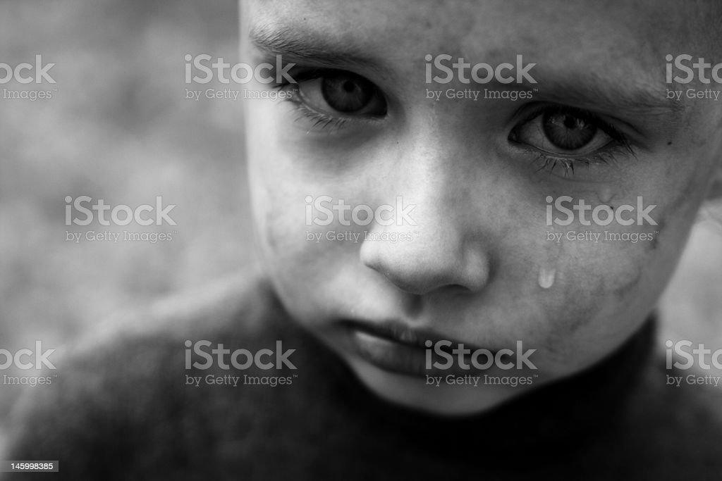 crying boy stock photo