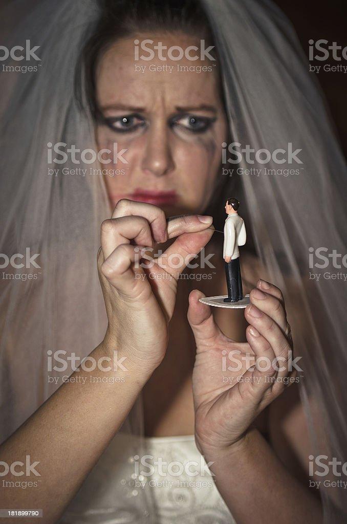 Crying Crazy Bride Wishing Evil stock photo