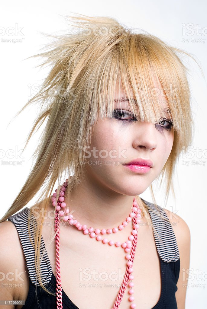 Crying emo girl portrait stock photo