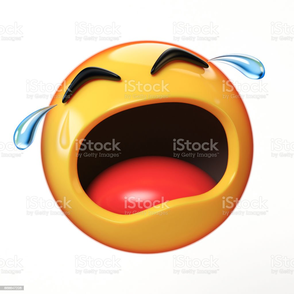 Crying emoji isolated on white background, emoticon in tears 3d rendering stock photo