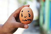 istock Crying emoticon with Egg 901496828