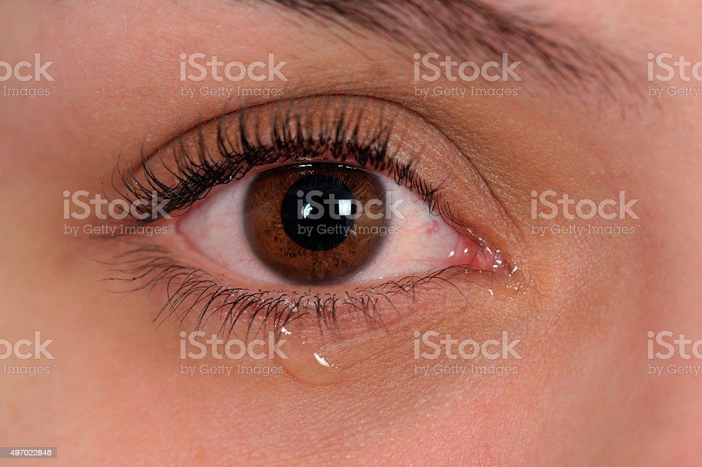 Crying eye stock photo