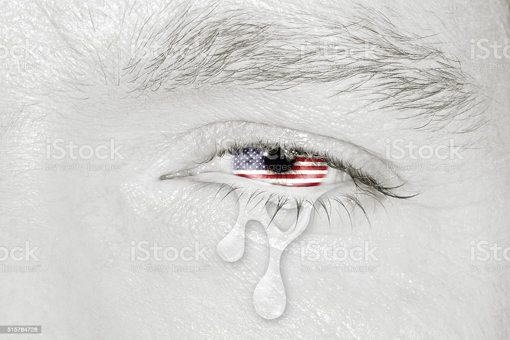 Crying eye with American Flag stock photo
