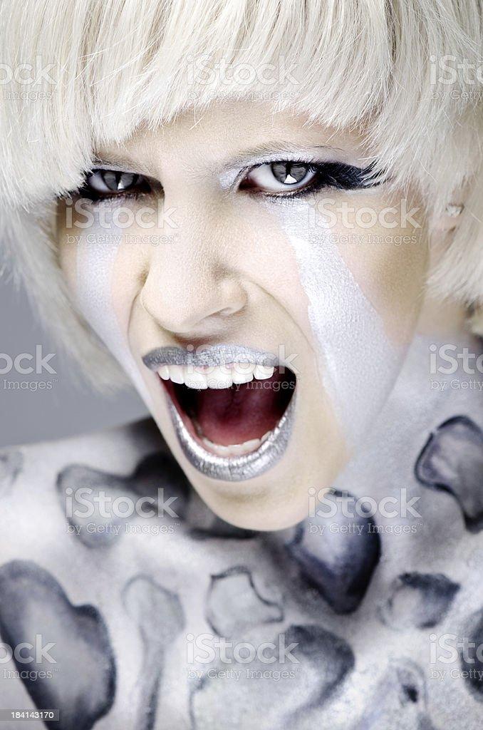 Crying female cyborg royalty-free stock photo