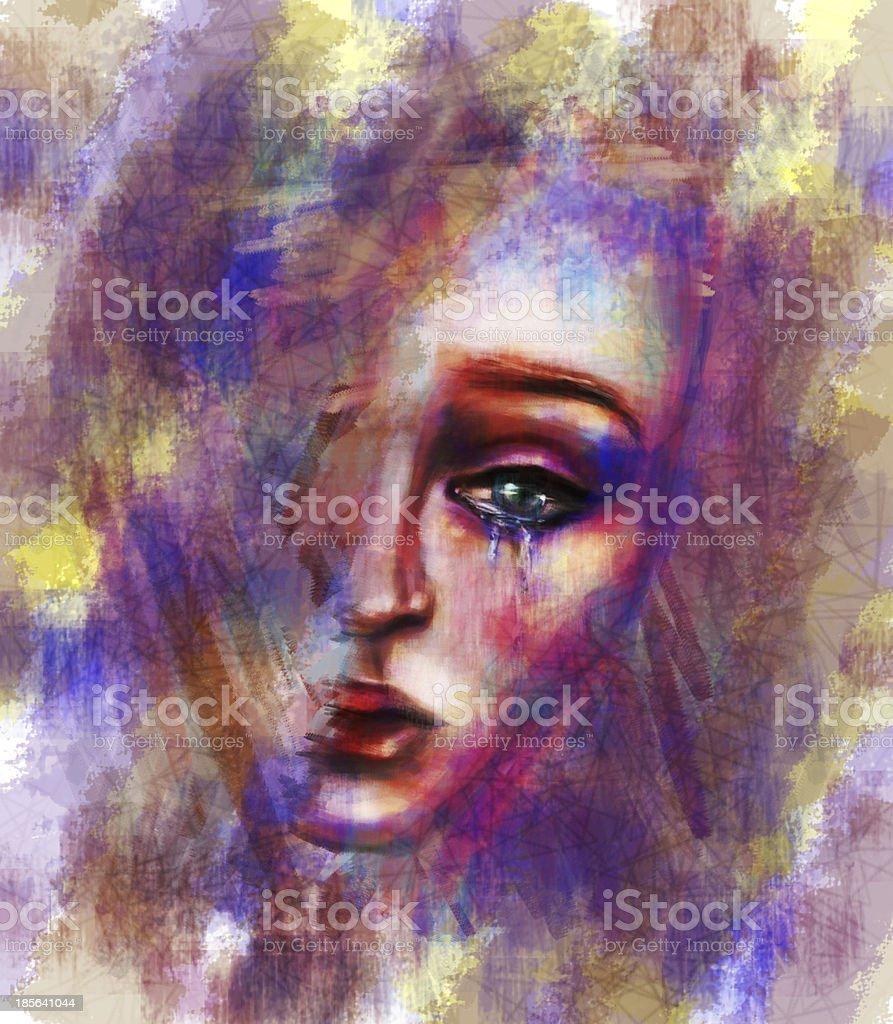 Crying female illustration royalty-free stock photo