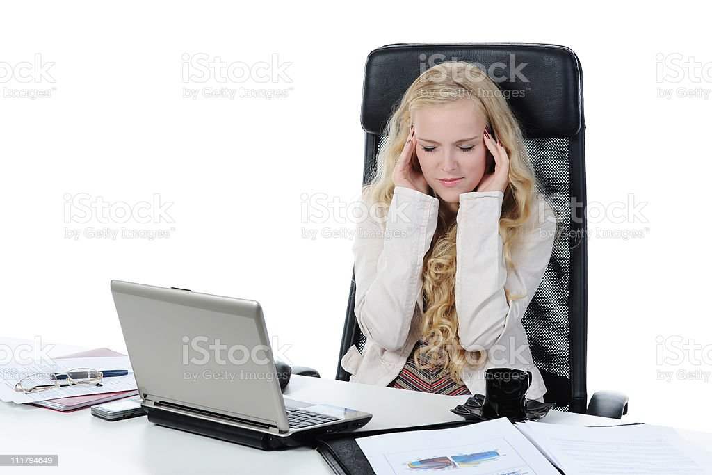 Crying girl in the office royalty-free stock photo