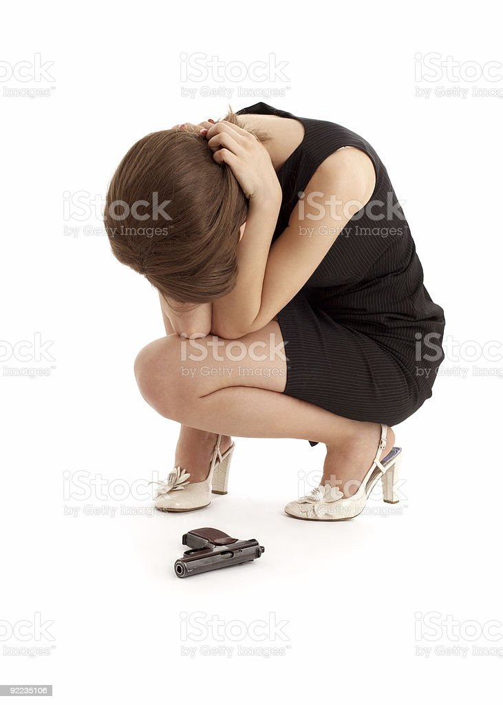 crying girl with a gun royalty-free stock photo