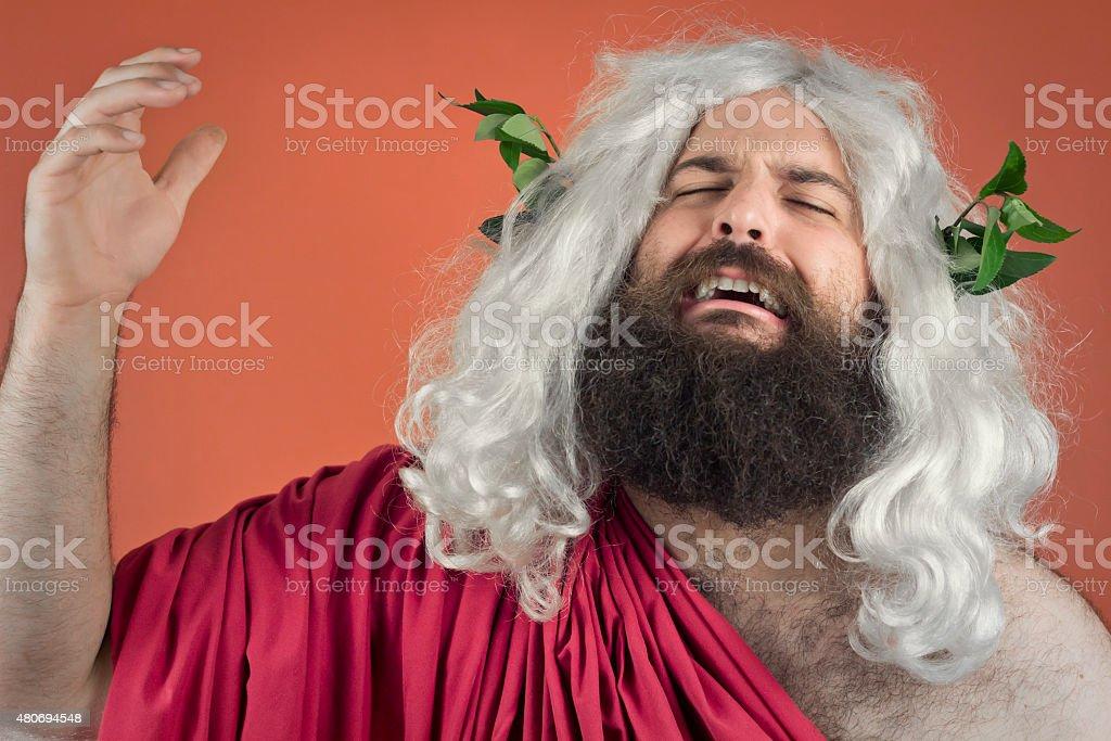 Crying God stock photo