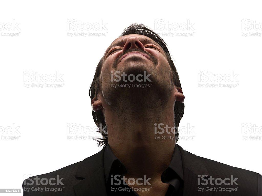 crying hispanic man stock photo
