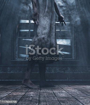 istock Crying house,Ghost woman in haunted house,Girl who died in this house is waiting to be release,3d illustration 1179345705