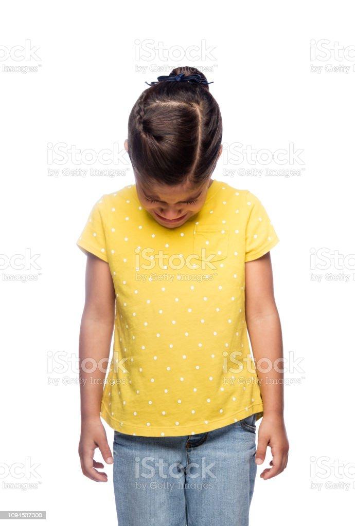 Crying little girl stock photo