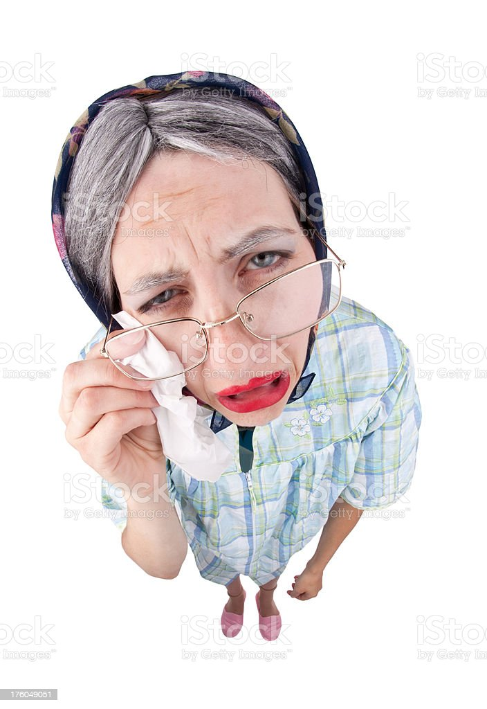 Crying Old Lady royalty-free stock photo