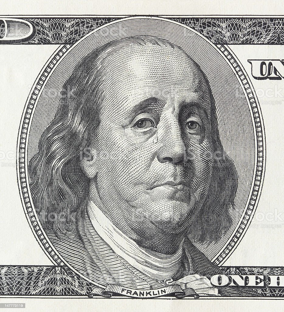 Crying president Franklin stock photo