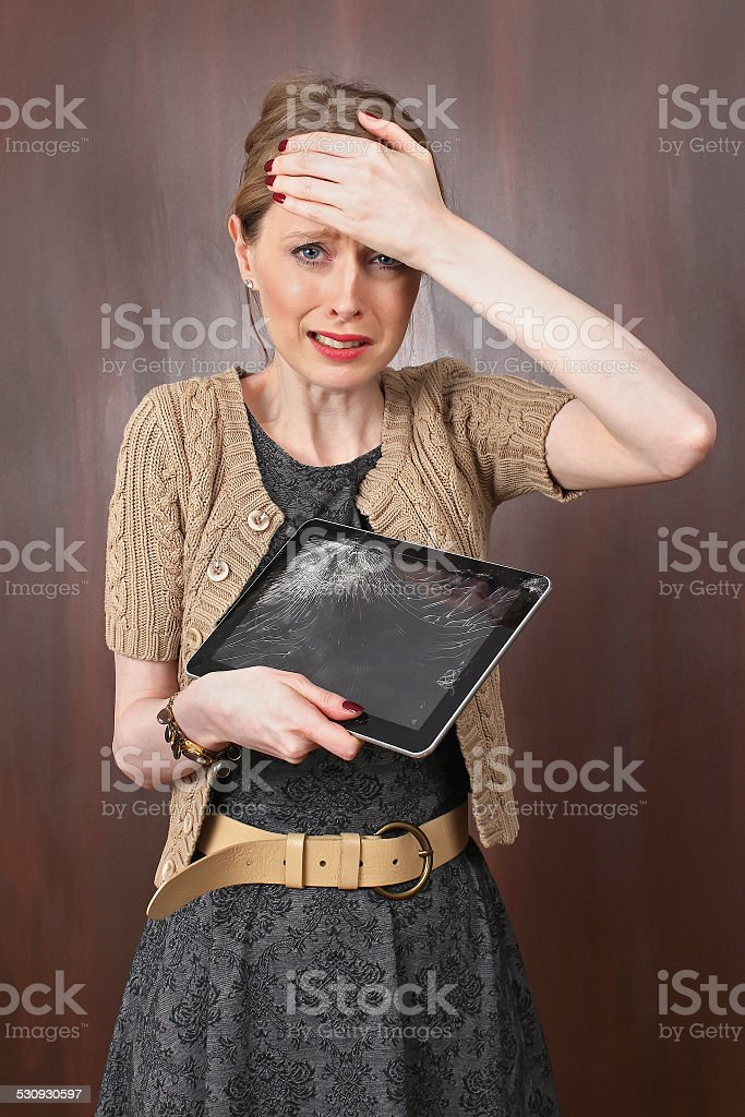 Crying tablet stock photo