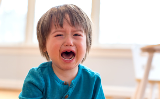 Upset crying and mad little toddler boy