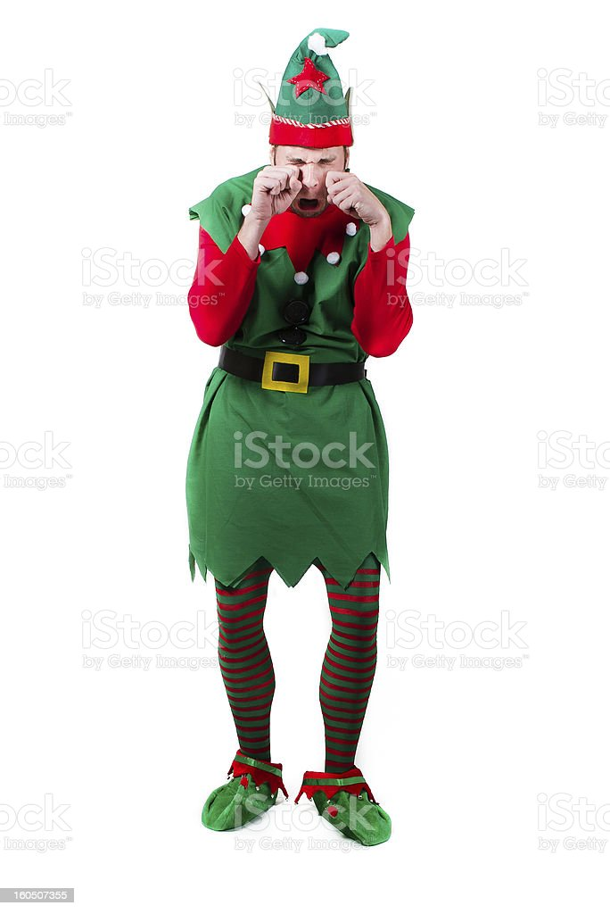 Crying Upset Elf stock photo