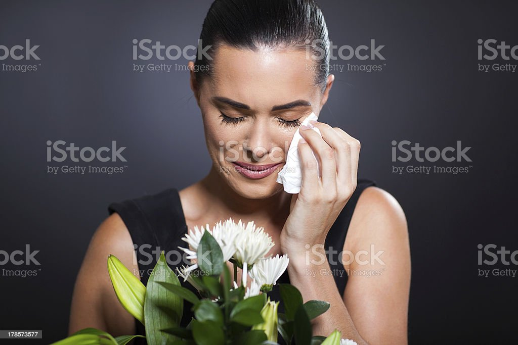crying woman at funeral royalty-free stock photo