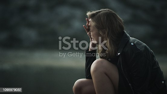 Desperate woman cry. Negative emotions after arguing