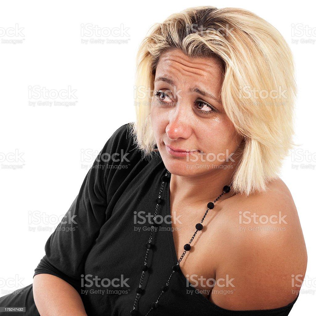 Crying woman looking at him royalty-free stock photo