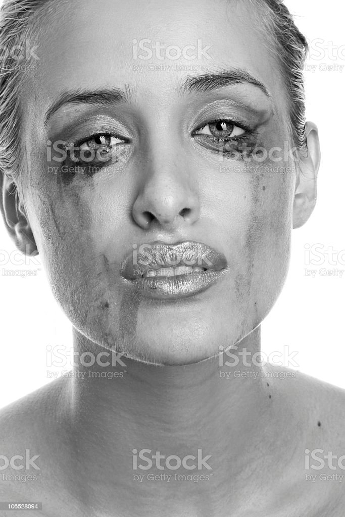 Crying woman with flowing make-up (monochrome) stock photo