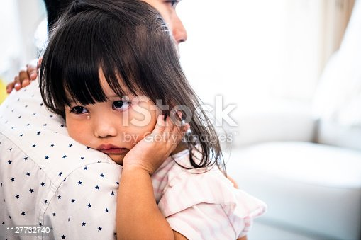 Cute 4 year old child being held by dad, sullen expression, innocence, love, protection