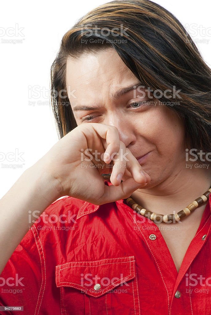 Crying young guy portrait royalty-free stock photo