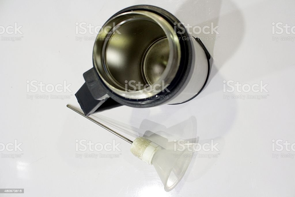 Cryogenic cup and funnel stock photo