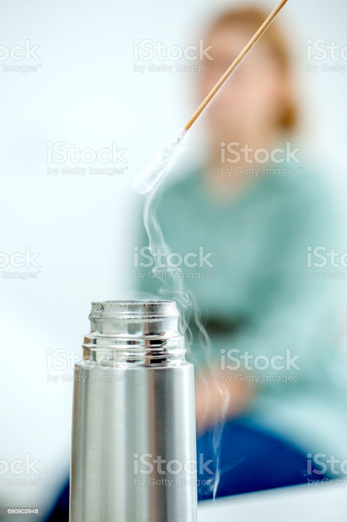 Cryotherapy using Cotton Swab and Liquid Nitrogen stock photo