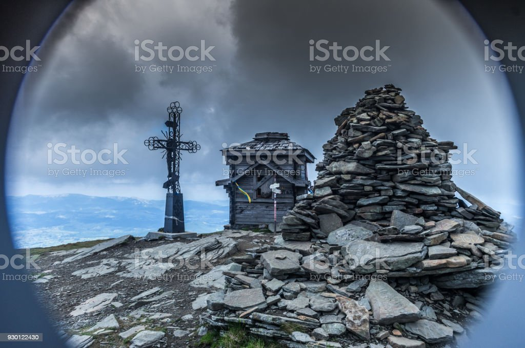 Crypt on the mountain. A spiritual place for the faithful. Peak. stock photo