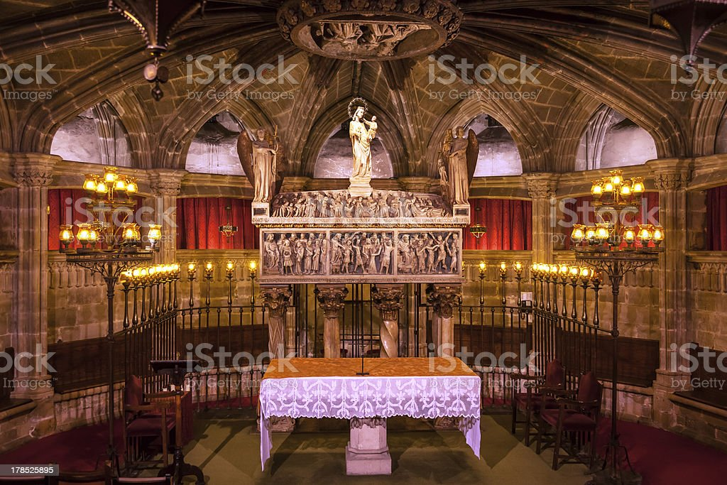Crypt St Eulalia 400AD Martyr Gothic Catholic Barcelona Cathedral Spain royalty-free stock photo