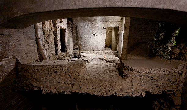 crypta balbi crypt archeological site in rome - crypt stock pictures, royalty-free photos & images