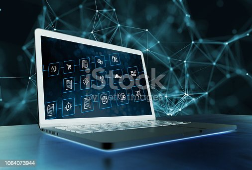 istock Crypto currency and Block chain concept healthcare block chain. Health care IT concept for data sharing. 1064073944