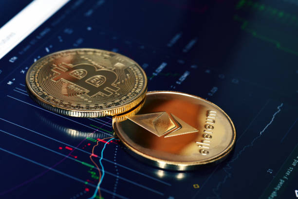 Crypto currency Bitcoin and Ethereum stock photo