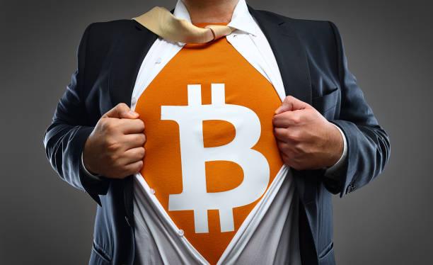 暗号通貨ビットコイン スーパー ヒーロー ストックフォト