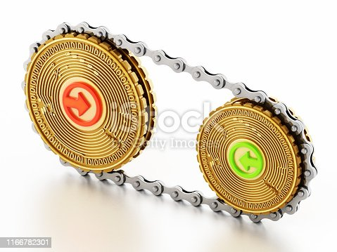 Crypto currency / Blockchain concept with bicycle chains connecting fictitious digital currencies.
