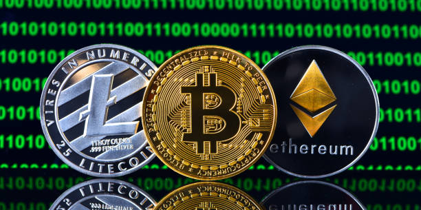 Crypto currency coins stock photo