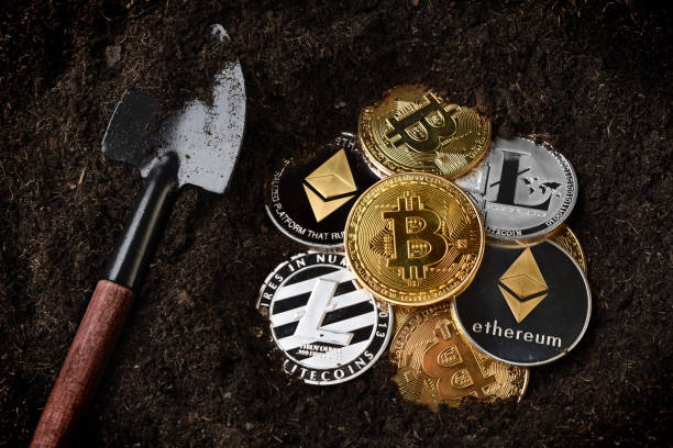 Crypto currency mining stock photo