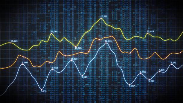krypto finanzkennzahlen mit tabellendaten - kurstafel stock-fotos und bilder