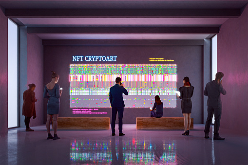 NFT CryptoArt display in art gallery with people using smart phones and digital tablets. Entrirely 3D generated image. Image on the walls is my own and it's a 3D generated images as well.