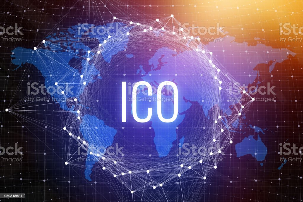 Cryptocurrency and global e-commerce texture stock photo