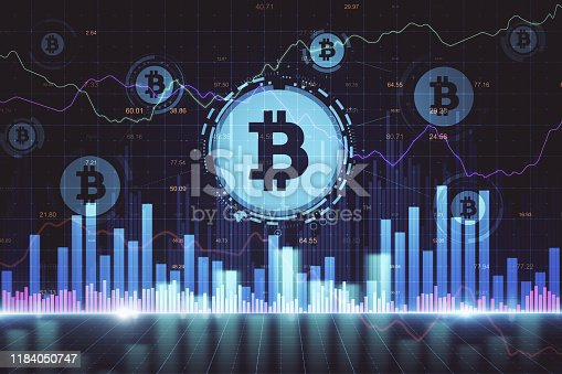 Glowing background with forex chart and bitcoin sign icons. Cryptocurrency and trade concept. 3D Rendering