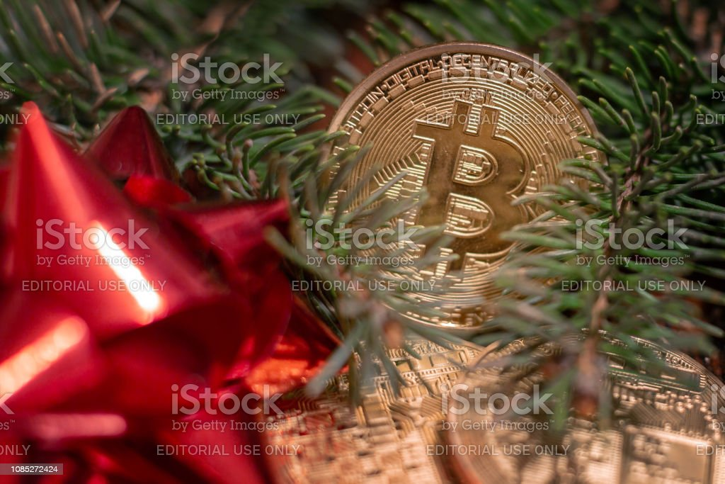 Cryptocurrency Bitcoin On The Christmas Holiday Backgrounds Stock Photo Download Image Now Istock